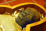 The brain was probably extracted through the left eye, now filled with a piece of cloth