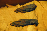 Hands of the mummy from the Necropolis of Deir el-Bahri in Thebes