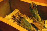 Feet of the mummy from the Necropolis of Deir el-Bahri in Thebes