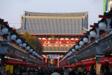 Tourist-oriented stalls line the Nakamise shopping street between the outer gate (Kaminarimon) gate and inner gate (Hōz&#33
