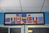 Flags of the Republic of Korea, the USA, the UN, and the countries who fought on the UN side during the Korean War