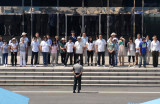 A tour group on the South Korean side of the border