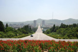 Looking back down the broad, near empty boulevard leading from Kaesong to the Kim Il Sung statue