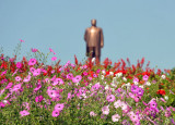 Flowers with the statue of the Great Leader Kim Il Sung, Kaesong