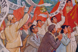 Mosaic detail of crowds enthusiastically welcoming Kim Il Sung in 1945