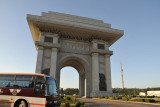 First stop in from the airport, the Pyongyang Arch of Triumph