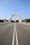 The road becomes Thongil Street, Pyongyang