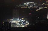 Monuments of central hotel illuminated for the Liberation Day Holiday