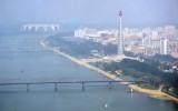 Juche Tower, Taedong River and May Day Stadium from Yanggakdo Hotel