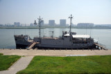 Armed U.S. Spy Ship Pueblo moored in the Taedong River as a North Korean trophy