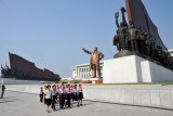 The Young Pioneers depart for the next stop on their Liberation Day Kim Il Sung pilgrimage