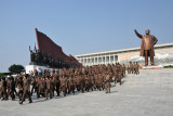 The work unit leaving the statue of Kim Il Sung