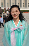 North Korean woman dressed traditionally for Liberation Day