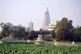Park near the Sinso Bridge with the Ryugyong Hotel
