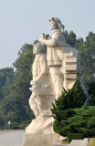 Monumental statues next to Juche Tower