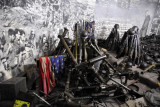 Captured American military gear and a tattered US flag, Victorious Fatherland Liberation War Museum