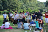 Pyongyangers dancing in Moranbong Park on Liberation Day