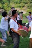 North Korean man with a drum, Moranbong Park