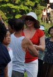 Oxana dancing with the locals