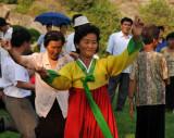 Woman in traditional Korean dress, Moranbong Park, Pyongyang