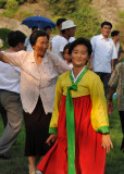 Woman in traditional Korean dress, Moranbong Park
