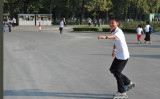 North Korean rollerblader, Moranbong Hill, Pyongyang