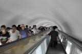 Escalators leading around 100m underground - the world's deepest metro
