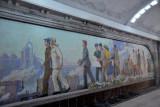 Pyongyang Metro - mosaic art, Puhung Station