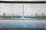 Juche Tower mosaic, Yongwang Station, Pyongyang Metro