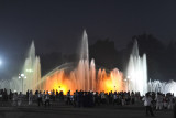 Illuminated fountain in front of Rungrado May Day Stadium