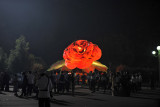 Giant illuminated statue of a Kimjongilia, a flower developed for the Dear Leader's birthday in 1988