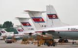 Tails of Air Koryo's Soviet-built fleet at Pyongyang Airport