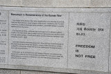 Monument in Remembrance of the Korean War - 25 June 1950 to 27 July 1953 - Freedom is Not Free