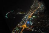 Palm Jumeriah and Dubai Marina at night