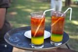 Tropical looking welcome drinks, Puku Pan Safari Lodge, Kafue