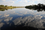Kafue River by boat from McBride's Camp - cloud reflections