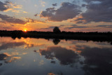 Sunset with clouds reflecting in the Kafue River