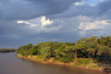 Luangwa River with cloudy sky from the Mfuwe Gate bridge