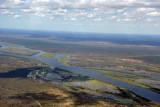 Four Countries:  Zambezi River at Kazungula (Zambia-Botswana Ferry) looking into Zimbabwe with a sliver of the Caprivi lower rig