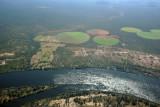 Irrigated fields at Simonga, Zambia seen from the Zimbabwe side of the Zambezi River