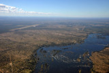 Approaching Livingstone from the west over the Zambezi River