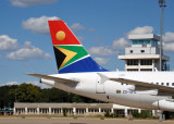 Tail of South African Airways A319 (ZS-SFD) at Livingstone, Zambia (FLLI)
