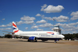 Comair South Africa B737 (ZS-OKJ) in British Airways livery arriving at Livingstone