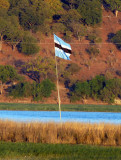 Botswana flag on an island in the Chobe River that had been disputed with Namibia
