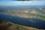Looking across the Zambezi River to an airstrip in Zimbabwe