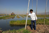Standing on a floating garden, Inle Lake