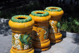 Decorative trash cans at the Lama Temple