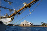 Bowsprit of the Cuauhtemoc with the Sydney Opera House