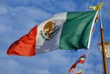 Mexican flag on the Buque Escuela Cuauhtemoc
