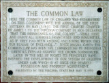 Plaque for the establishment of English Common Law in North America